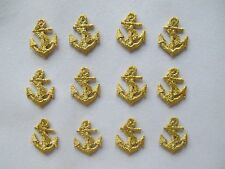 "#3312 Lot 12Pcs 1"" Golden Marine Anchor Embroidery Iron On Applique Patch"