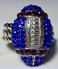 New England Patriots Blue and Red Rhinestone Football Ring!  Get your Bling on!!