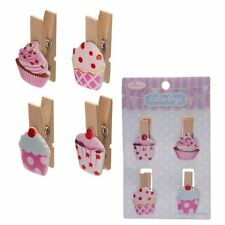 Wooden Cup Cake/Cupcake Pegs - Decorative Novelty Pegs ~ Pack of 4