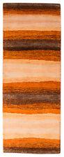 Läufer Gabbeh Teppich 203 x 75 cm Orange Beige Handgeknüpft Schurwolle 197
