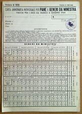 Carta annonaria individuale per Pane e Generi da minestra - Asciano - 1944 - WW2