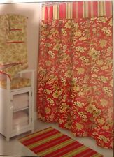 Waverly Honeymoon Fabric Shower Curtain Red Floral BRAND NEW