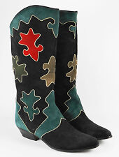 Vintage ZALO Womens SUEDE Leather Geometric Cowboy Western Tall Boots 7 B ~ RARE