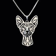 ❤️ Halskette mit Anhänger SPHYNX KATZE pendant, necklace Sphynx cat SILBER