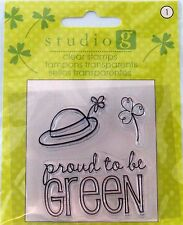 NEW STUDIO G CLEAR STAMP PROUD TO BE GREEN LEPRAUCHAN HAT SHAMROCK VC0045 196