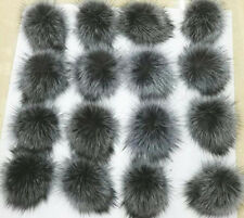 Faux Fur Pom pom bobble with press stud Handmade Pompom for Hat Mink Raccoon Fox