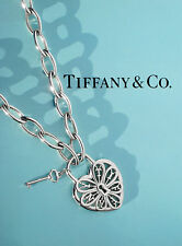 Tiffany & Co Sterling Silver Filigree Heart With Key Oval Link Necklace