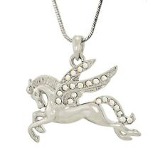 """W Swarovski Crystal PEGASUS Flying Wings Horse AB Pendant Necklace 18"""" Chain"""