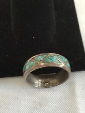 VERY NICE STERLING SILVER TURQUOISE CHIP INLAY BAND MEN RING SZ 9.5