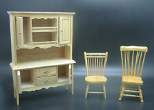 3pc LIGHT WOOD DOLLHOUSE KITCHEN FURNITURE LOT Dining (2 Chairs & 1 Hutch) 1:12