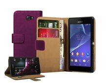 Wallet PURPLE Leather Case Cover Pouch for Sony Xperia M2 Dual D2302 experia