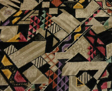 "CLARENCE HOUSE GEOMETRIC SHAPES MODERN LINEN VELVET FABRIC REMNANT 17""L X 51""W"
