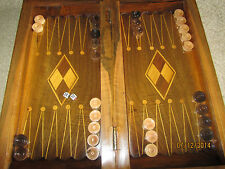 Fine Art  Persian/Kurdish  Walnut  Backgammon with Art Cover