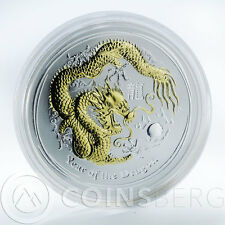 Australia $1 Year of the Dragon Gilded Series II 1 Oz Silver Coin 2012 No CoA