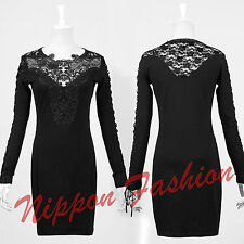 Goth Embroidery Lace Crochet Punk Cutout Corset Laced Up Visual Kei Mini Dress