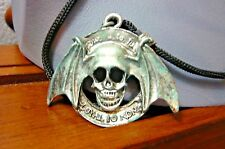 NECKLACE-GOTH-STEAM PUNK-Winged Silver Tone Skull Pendant on Black Cord-26""