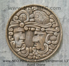 "History MAYAN AZTEC CEREMONIAL Sculptural wall relief plaque 17"" Age stone"