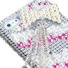 For iPhone SE 5S - DIAMOND RHINESTINE BLING CASE COVER 3D PINIK SILVER PEARL BOW