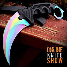 TACTICAL COMBAT KARAMBIT NECK KNIFE Survival Hunting Fixed Blade RAINBOW FADE