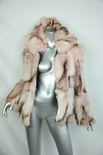ST. JOHN Beautiful Marbled Pink *GENUINE FUR* Soft Zip-Front Jacket Coat NEW M