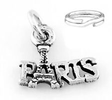 """STERLING SILVER """"EIFFEL TOWER- PARIS"""" CHARM WITH ONE SPLIT RING"""