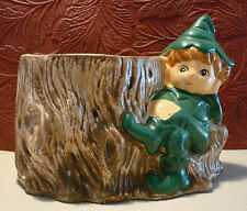 Vintage Ceramic Planter Elf Gnome Stump Desk Organizer Christmas Decor Cute!