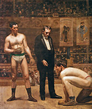 """Taking The Count Boxing Painting Large 12.5"""" x 14.7"""" Real Canvas Art Print"""