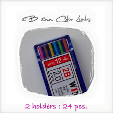 2 Cases 2.0mm 2B 12 Colored Mechanical 2mm Pencil Holder Clutch Lead Refills