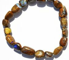 64Cts. Natural Gem Australian Boulder Opal Flashy Fire Nugget Beads Bracelet 7""
