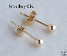 BABY GIRLS 9ct GOLD 2.5mm Tiny Small Plain Round Ball Stud Sleeper Earrings GIFT