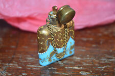 Antique Turquoise Blue Glass Perfume Bottle possibly Moser