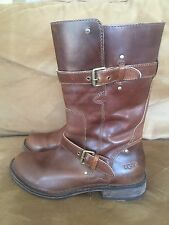 UGG Australia Women's Brown Gillespie Boots Distressed Belted Size 8