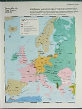WW2 WWII MAP ~ EUROPE after PEACE TREATIES 1920-21 ~ LEAGUE NATIONS ALLIES