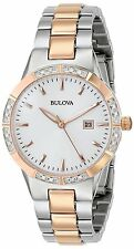 Bulova Women's 98R169 Rose Gold and Silver Diamond Bezel Date Display Watch