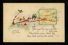 Birthday Greetings Card Vintage postcard birds 1924