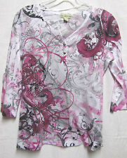 LIVE AND LET LIVE S 6/8 Bust 36 top shirt Modern Tee-shirt fabric touch-bling