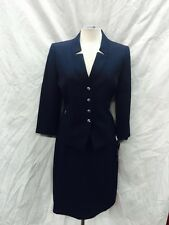 TAHARI BY ARTHUR LEVINE SKIRT SUIT/SIZE 10/RETAIL$280//LINED/SMOKE FREE/NAVY