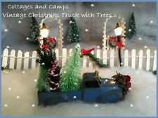 Sweet Antique Vtg Cast Metal 1950's Blue Toy Pick-up Truck / Xmas Trees & Wreath