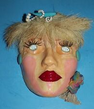 """Face Plaque Wall Hanging Art Handpainted Zombie 8""""x5"""" Earring Beads Hair Red"""