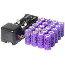 20x GTL 2300mAH Li-ion 16340 CR123A Rechargeable Battery Cell + Smart Charger