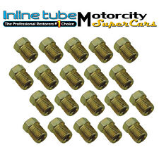 3/8-24 Inverted Flare Gold Zinc Tube Nut Fitting 3/16 Steel Brake Line Tubing 20