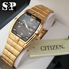 New Citizen Day Date 24K Gold PT Stainless Steel Analog Luxury Men Dress Watch
