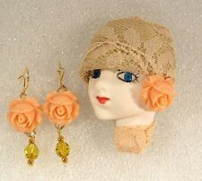 LADY HEAD doll FACE Porcelain-Look Resin Brooch Pin Figural Spring Rose Earrings