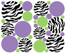 POLKA DOTS CIRCLES Zebra print big wall sticker 33 decals Purple Green teen dorm