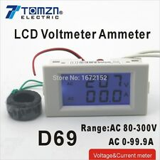 D69 Dual LCD display Voltage and current meter range AC 80-300V 0-99.9A white