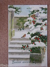 R&L Postcard: Bonne Annee, Happy New Year, Birds, Robins, France Postal Stamps