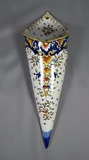 Faience Wall Pocket: French Rouen Desvres Le Treport Flower Vase Jardiniere