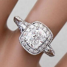 14K WHITE GOLD CUSHION FOREVER ONE MOISSANITE AND DIAMOND ENGAGEMENT RING 1.70CT