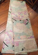 """Vtg Japanese Kimono Heavy Silk Brocade FUKURO OBI Pastel Flowers Phoenix 152"""""""