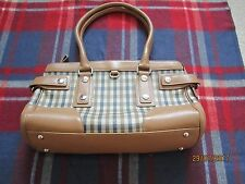 ACQUASCUTUM Grab Bag TOTE Checked TAN Beige Leather & Synthetic BARGAIN